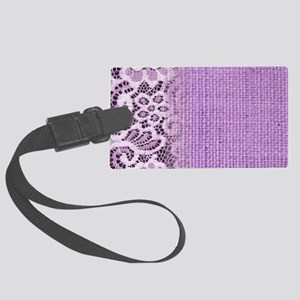 country chic purple burlap lace Large Luggage Tag