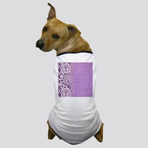 country chic purple burlap lace Dog T-Shirt