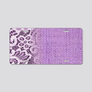 country chic purple burlap Aluminum License Plate
