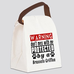 Protected By Brussels Griffon Dog Canvas Lunch Bag