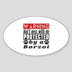 Protected By Borzoi Dog Sticker (Oval)