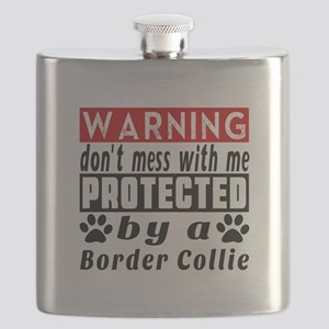 Protected By Border Collie Dog Flask