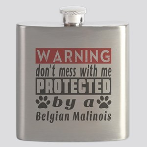 Protected By Belgian Malinois Dog Flask