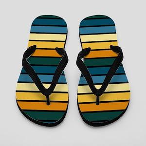 Multicolored Stripes: Blue, Teal, Orang Flip Flops