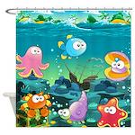Cute Ocean Fish Kids Shower Curtain