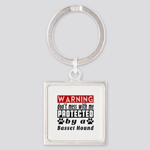 Protected By Basset Hound Dog Square Keychain