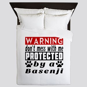 Protected By Basenji Dog Queen Duvet