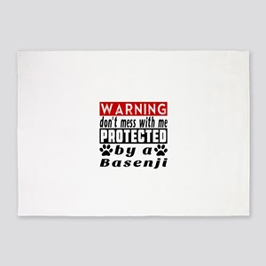 Protected By Basenji Dog 5'x7'Area Rug