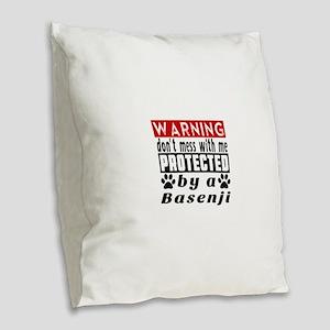 Protected By Basenji Dog Burlap Throw Pillow