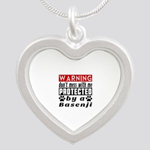 Protected By Basenji Dog Silver Heart Necklace