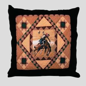 Bronc Rider Throw Pillow