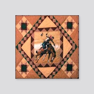 "Bronc Rider Square Sticker 3"" x 3"""