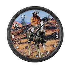 Native American Cowboy Large Wall Clock
