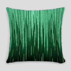 Green Binary Rain Everyday Pillow