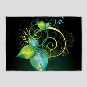 Abstract Decorative Floral 5'x7'Area Rug
