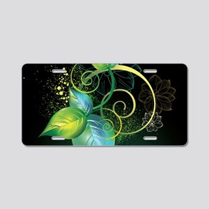 Abstract Decorative Floral Aluminum License Plate