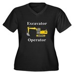 Excavator Op Women's Plus Size V-Neck Dark T-Shirt