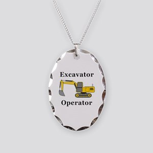 Excavator Operator Necklace Oval Charm