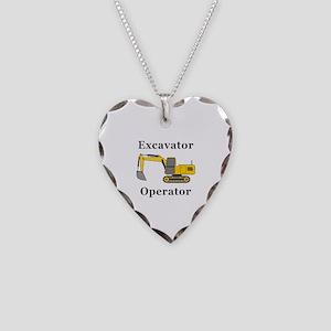 Excavator Operator Necklace Heart Charm