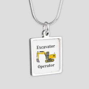 Excavator Operator Silver Square Necklace