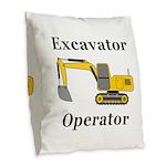 Excavator Operator Burlap Throw Pillow