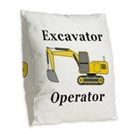 Excavator Operator Burlap Throw Pillow
