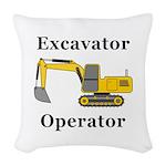 Excavator Operator Woven Throw Pillow