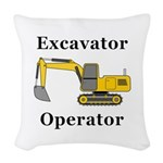 Excavator Operator Woven Throw Pillow