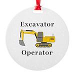 Excavator Operator Round Ornament