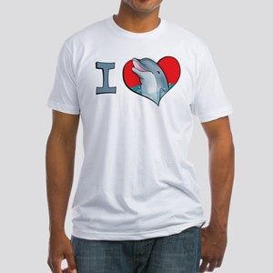 I heart dolphins Fitted T-Shirt