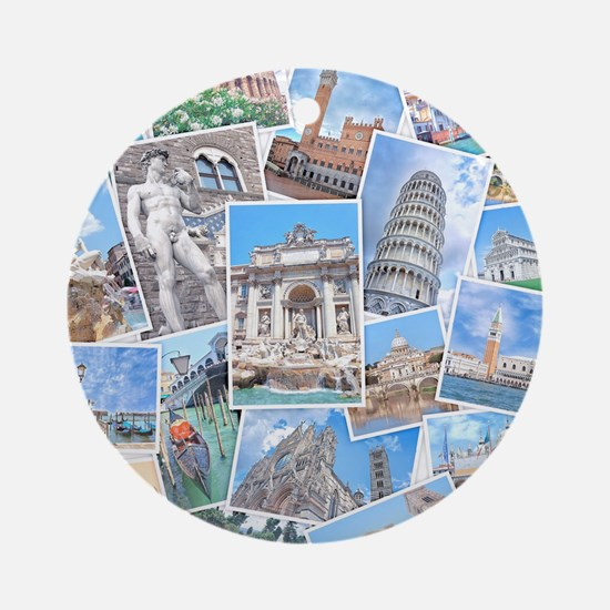 Italy Collage Round Ornament