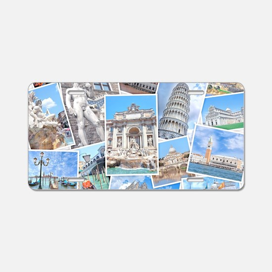 Italy Collage Aluminum License Plate
