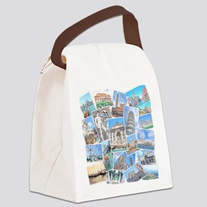 Italy Collage Canvas Lunch Bag