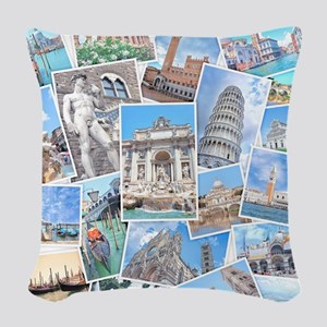 Italy Collage Woven Throw Pillow