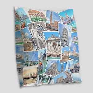 Italy Collage Burlap Throw Pillow