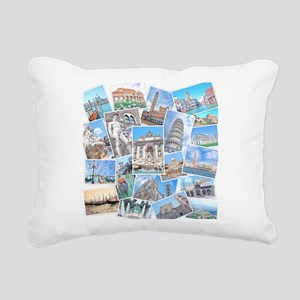 Italy Collage Rectangular Canvas Pillow