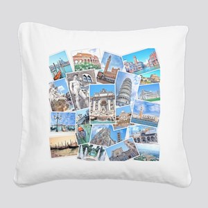 Italy Collage Square Canvas Pillow