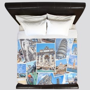 Italy Collage King Duvet