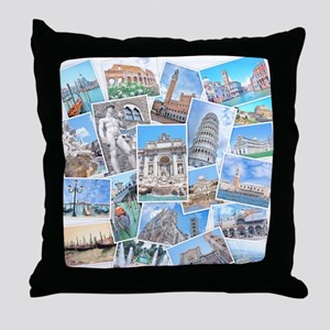 Italy Collage Throw Pillow
