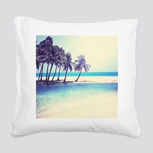Tropical Beach Square Canvas Pillow