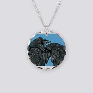 Raven Love Necklace Circle Charm