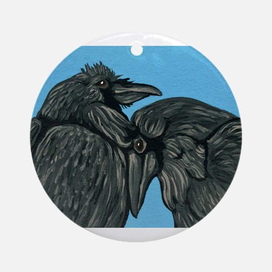 Raven Love Round Ornament