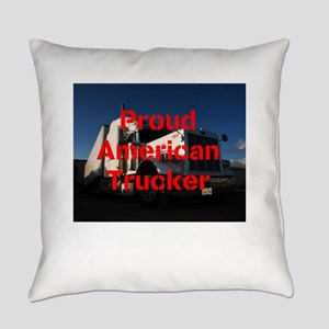 Proud American Trucker Everyday Pillow