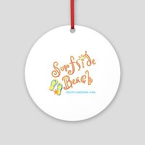 Surfside Beach - Round Ornament