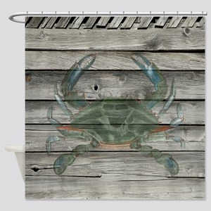 Rustic Barn Wood Blue Crab Shower Curtain