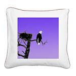 Sunset Bald Eagle Square Canvas Pillow