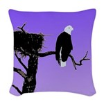 Sunset Bald Eagle Woven Throw Pillow