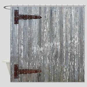 Rustic Barn Door With Metal Hinges Shower Curtain