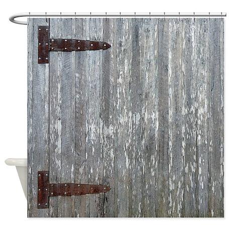 Rustic Barn Door With Metal Hinges Shower Curtain By Rebeccakorpita