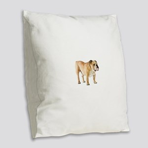 English Bulldog Burlap Throw Pillow
